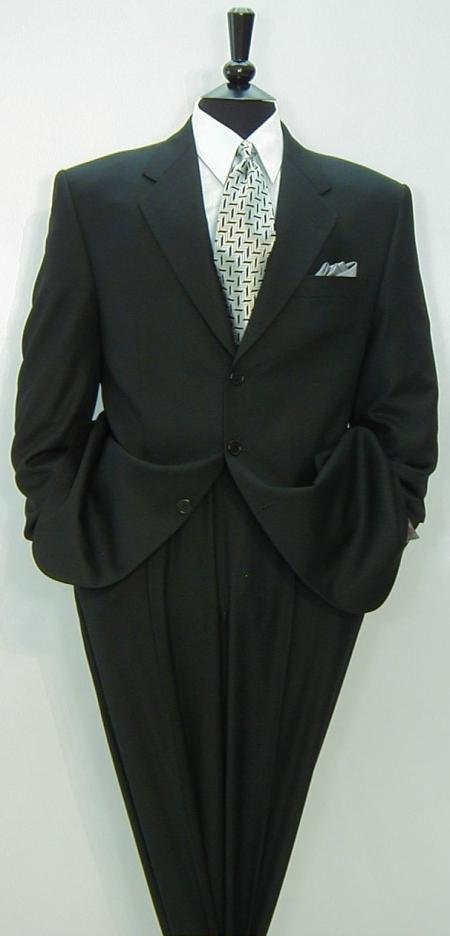 Liquid Black Men's Double Vent Suits premeier quality italian fabric Super 150's Wool