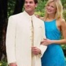 Mens Banded Collar Off White Mandarin suit style