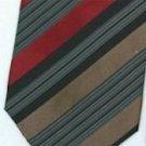 Silk Brown/Burgundy/Black/White Woven Necktie