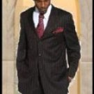 Mens Black & Red Dress Pinstripe 3 Buttons Suit