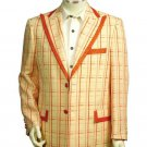 Men'S Two Button Trimmed Two Tone Blazer/Suit/Tuxedo Peach Orange
