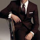 2 Button Vested 3Pc Wool Suit Peak Pointed English Style Lapel Brown
