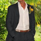 Men'S 100% Linen Suit In Black