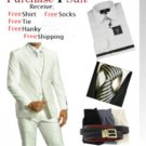 Men'S Two Button Solid White Tuxedo Suit - Dress Shirt, Free Tie & Hankie Package
