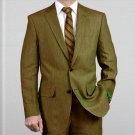 Elegant, Natural & Light Weight 2-Btn Notch Lapel Real Linen Suit Spring/Summer Olive