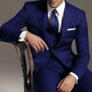 2 Btn Vested 3Pc Wool Suit Peak Pointed English Style Lapel Dark Blue