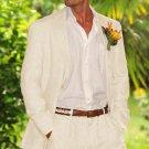 Men'S 100% Linen Suit In Off White