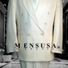 2Pc Men'S Sharp Double Breasted Dress Suit Off White (Ivory/Cream)