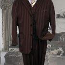 Ts-33 Signature Platinum Stays Cool Tailored Brown Extra Fine Super 150'S Suit Tone Ontone Stripe