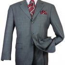 Men'S Gray Single Breasted 3 Button Suit