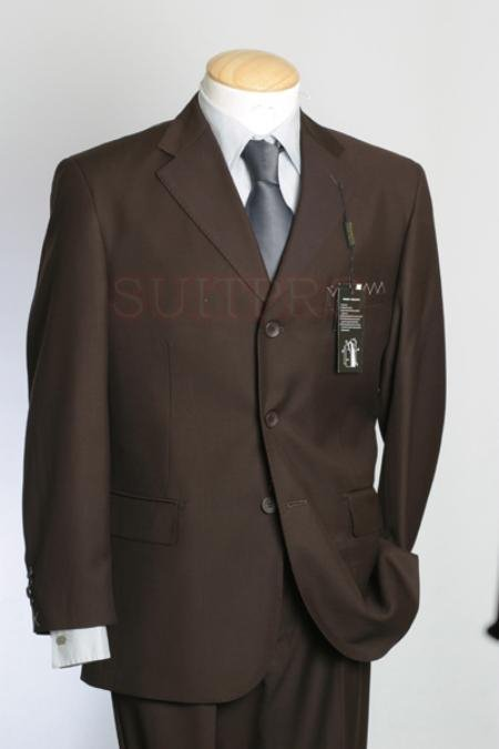 Premeier Quality Italian Fabric Design :: Solid Coco Liquid Brown Super 150S Worsted Wool 2 Vented