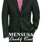 Double Vent Black Pinstripe 3 Buttons Men'S Dress Business Premeier Quality Italian Fabric Suits