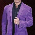 Mens Cotton/Rayon 2 Button Purple Sport Coat Notch Lapel Side Vents