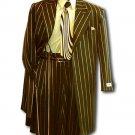 Men'S Black & Gold Pinstripe Dress 5 Button Fashion Zoot Suit