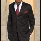 Exclusive Stunning Mens Black & Red Dress Pinstripe 3 Buttons Suit ( Not Long )
