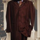 Shiny Brown And Brown Stripe Ton On Ton Shadow Stripe Mens Fashion Dress Zoot Suits