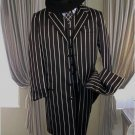 Shimmery Gangster  Black And Bold Pronounce  White Stripe Fashion Longer Jacket Mens Suits