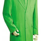 Mens 3 Piece Long Zoot Suit With Vest Lime Green