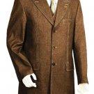 Men'S 3 Piece Vested Brown Unique Exclusive Fashion Denim Fabric Suit