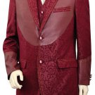 Men'S 3 Piece Fashion Trimmed Two Tone Blazer/Suit/Tuxedo - Fancy Pattern With Leather Trim Wine
