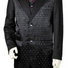 Men'S 3 Piece Designer Fashion Trimmed Two Tone Blazer/Suit/Tuxedo - Fancy Diamond Pattern Black
