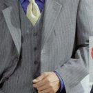Classic 3 Piece Light Gray Pinstripe Super Fine Wool Feel Poly~Rayon Suit