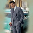 Men'S Medium Gray 3 Piece Suit Made From Super 150'S Wool