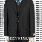 Solid Black Vested 3 Pieces Super 150'S Wool Vested 3 Pieace Light Weight Side Vent