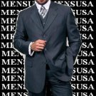 Luxurious Navy Blue With Smooth Pinstripe 3 Piece Vested Business Suits Double Side Vent