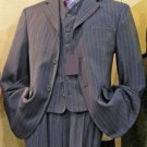 Mens Grey Striped 3-Button High Vested 3 Piece Rayon/Visouse Dress Suit  In 3 Colors