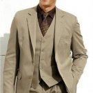 High Quality Dark Tan 2 Btn Vested 100% Wool Feel Poly Rayon Suit Notch Lapel Vented