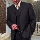 Ts-3V Nice 3Pc 3 Button Solid Color Charcoal Gery Mens Suit