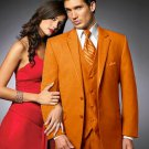 2 Btn Suit/Colored Tuxedo Satin Trim Outlines A Notch Lapel Matching Trousers Orange