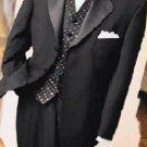 Jet Black Super 150'S 3 Button Tuxedo Jacket + Pants + Black Vest + Shirt+Bowtie