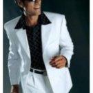 Men'S Super 100S Wool High Twist 3 Button Suit White
