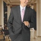 100% Wool Flat Front No Pleated Pants & 2 Button Charcoal Gray On Sale