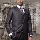 2Button Heather Charcoal Suit and A Vest Super 150'S Italian Wool Pick Stitched Lapel Slanted Pocket