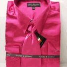 Men'S New Fuchsia Satin Dress Shirt Tie Combo Shirts