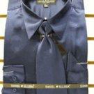 Men'S New Navy Satin Dress Shirt Tie Combo Shirts