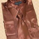 Satin Brown Dress Shirt Tie Hanky Set
