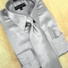 Satin Silver Grey Dress Shirt Tie Hanky Set