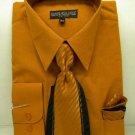 Mens Rust Dress Shirt Tie Set