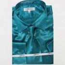 Mens Shiny Luxurious Shirt Teal