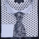 100% Cotton French Cuff Dress Shirt, Tie, Hanky & Cuff Links Polka Dot White/Black
