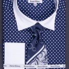 100% Cotton French Cuff Dress Shirt, Tie, Hanky & Cuff Links -Polka Dot Two Tone Navy