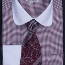 Men'S French Cuff Dress Shirt, Tie, Hanky And Cuff Links - Two Tone Houndstooth Brown