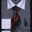 Men'S French Cuff Dress Shirt Set - Two Tone Stripe Black