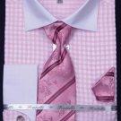 Men'S French Cuff Dress Shirt Set - Small Checker Pink
