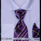 Men'S French Cuff Dress Shirt - Two Tone Stripe Lilac