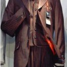 Jp61 Men'S 3 Piece Black & Red Stripe Vested Suit Super 120'S Wool 3 Button Suit